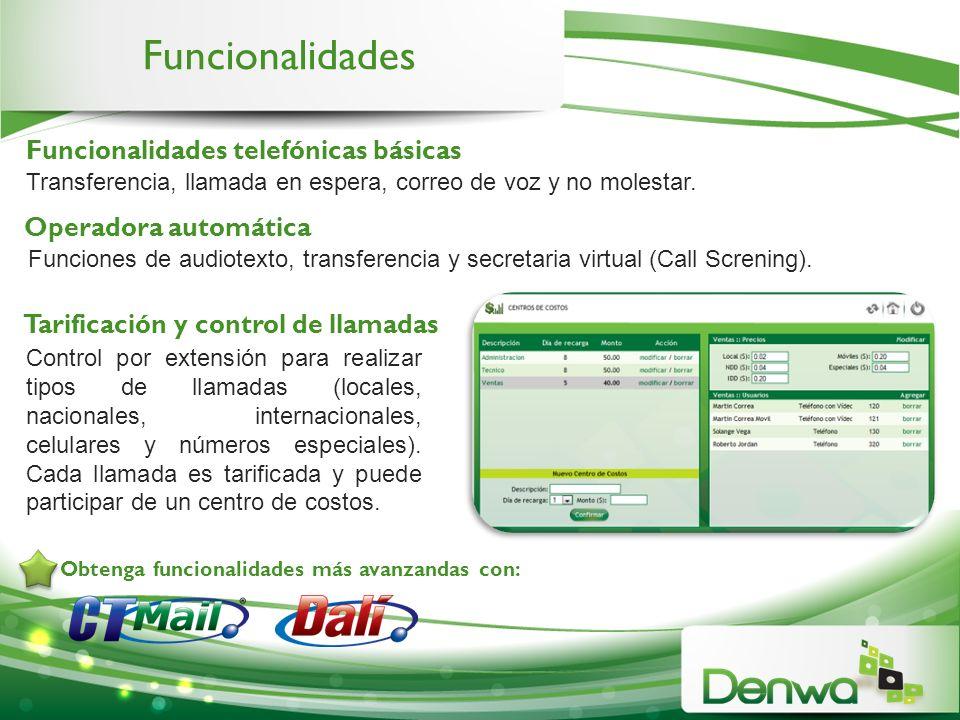 Funcionalidades Transferencia, llamada en espera, correo de voz y no molestar. Control por extensión para realizar tipos de llamadas (locales, naciona