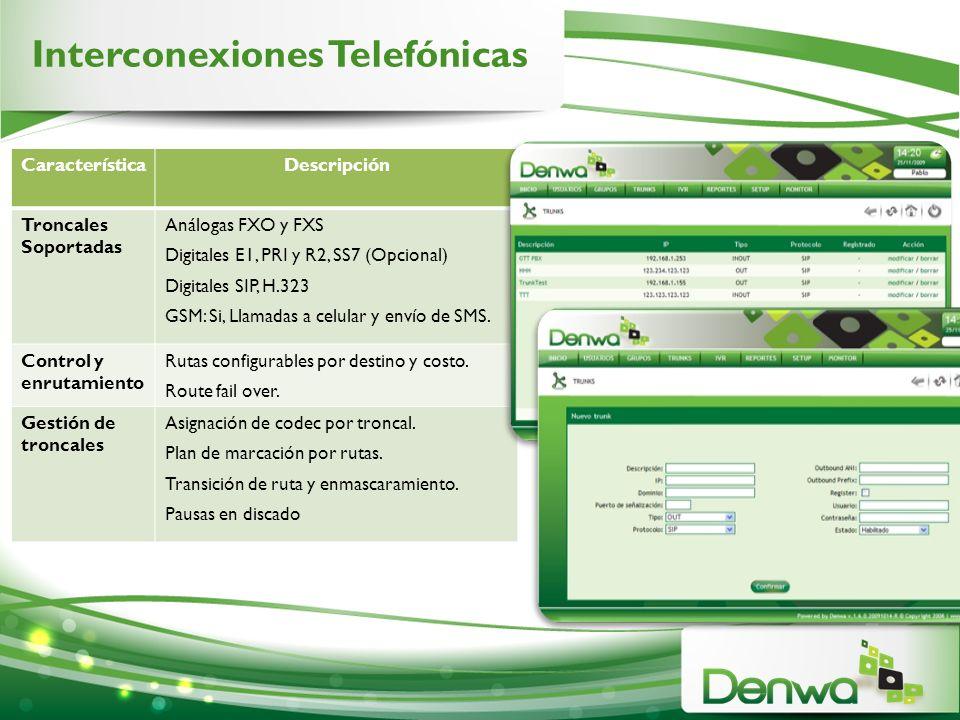 Interconexiones Telefónicas CaracterísticaDescripción Troncales Soportadas Análogas FXO y FXS Digitales E1, PRI y R2, SS7 (Opcional) Digitales SIP, H.