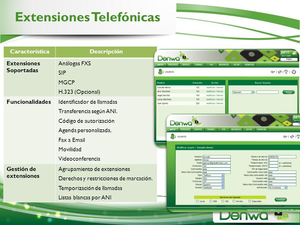 Extensiones Telefónicas CaracterísticaDescripción Extensiones Soportadas Análogas FXS SIP MGCP H.323 (Opcional) FuncionalidadesIdentificador de llamad