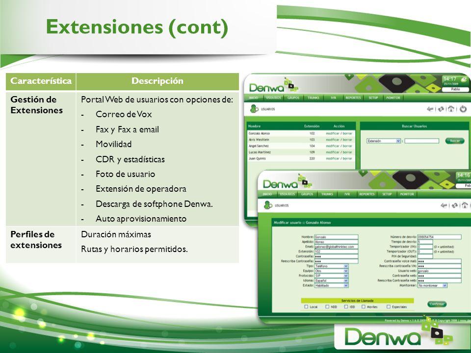 Extensiones (cont) CaracterísticaDescripción Gestión de Extensiones Portal Web de usuarios con opciones de: -Correo de Vox -Fax y Fax a email -Movilid