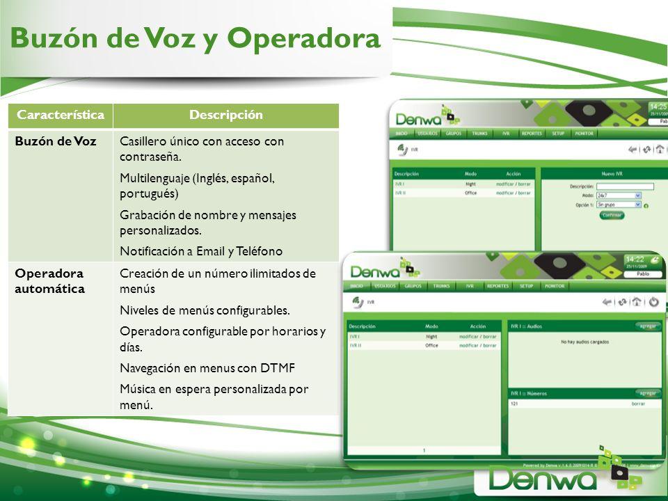 Buzón de Voz y Operadora CaracterísticaDescripción Buzón de VozCasillero único con acceso con contraseña. Multilenguaje (Inglés, español, portugués) G