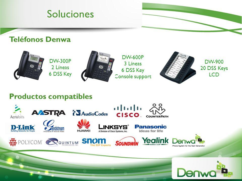 Soluciones Teléfonos Denwa Productos compatibles DW-300P 2 Líneas 6 DSS Key DW-600P 3 Líneas 6 DSS Key Console support DW-900 20 DSS Keys LCD