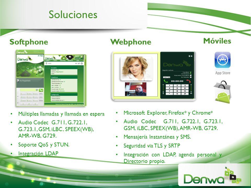 Soluciones Móviles SoftphoneWebphone Microsoft Explorer, Firefox* y Chrome* Audio Codec G.711, G.722.1, G.723.1, GSM, iLBC, SPEEX(WB), AMR-WB, G729. M