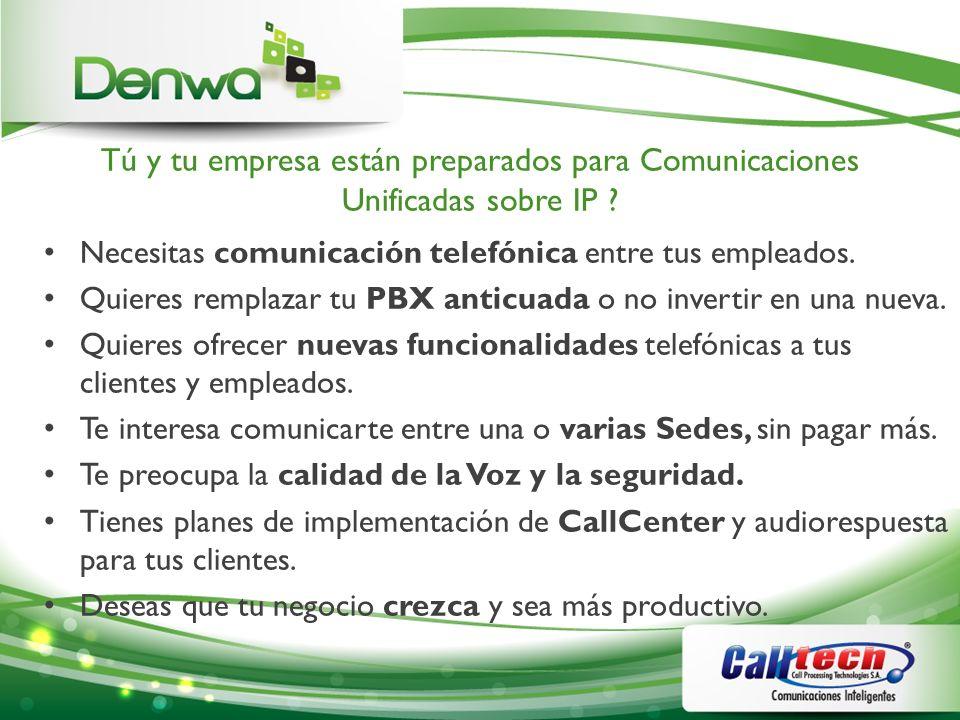 Extensiones (cont) CaracterísticaDescripción Gestión de Extensiones Portal Web de usuarios con opciones de: -Correo de Vox -Fax y Fax a email -Movilidad -CDR y estadísticas -Foto de usuario -Extensión de operadora -Descarga de softphone Denwa.