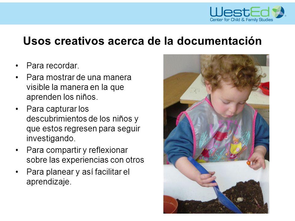 Usos creativos acerca de la documentación Para recordar.