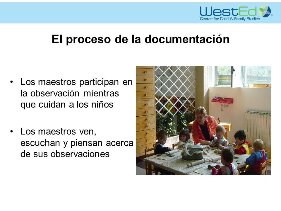El proceso de la documentación Los maestros participan en la observación mientras que cuidan a los niños Los maestros ven, escuchan y piensan acerca de sus observaciones