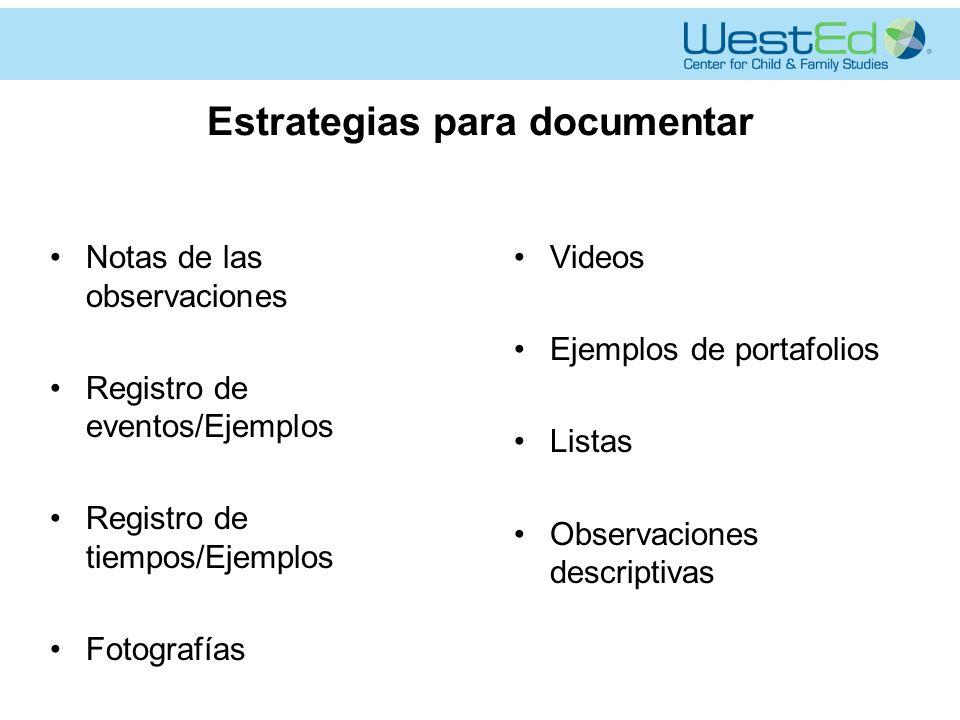Estrategias para documentar Notas de las observaciones Registro de eventos/Ejemplos Registro de tiempos/Ejemplos Fotografías Videos Ejemplos de portafolios Listas Observaciones descriptivas
