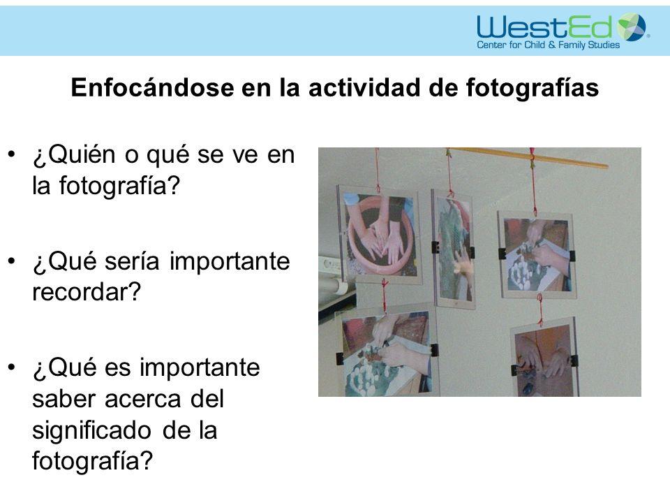 Enfocándose en la actividad de fotografías ¿Quién o qué se ve en la fotografía.
