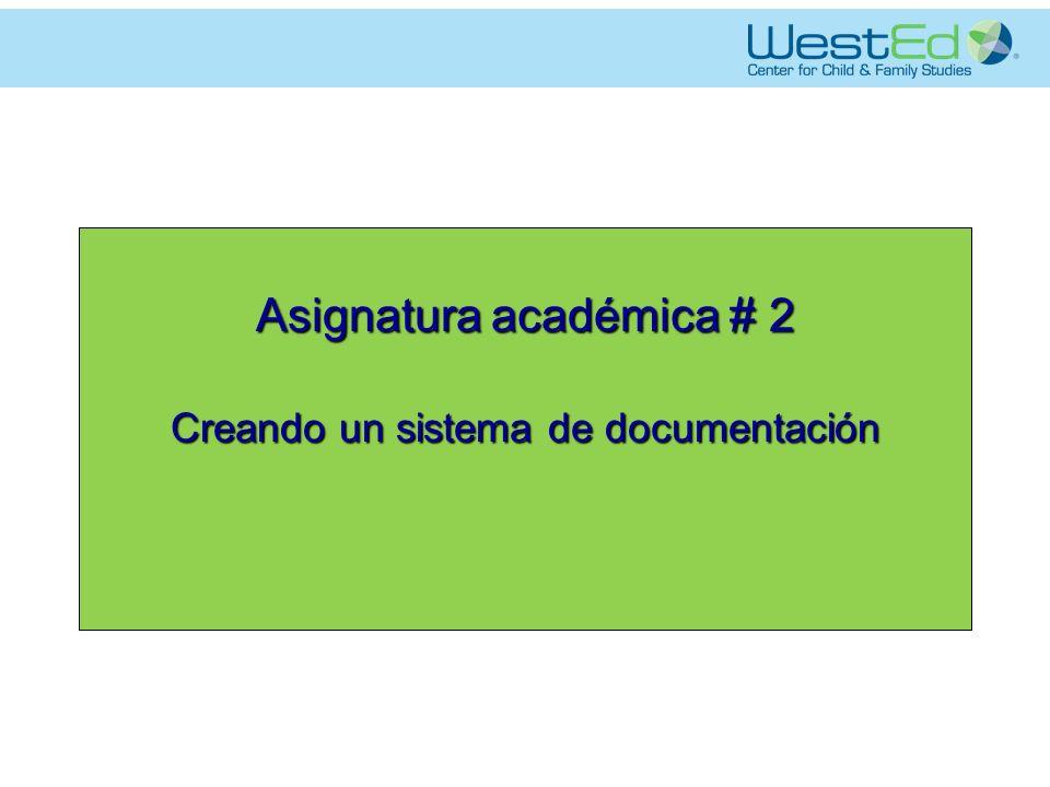 Asignatura académica # 2 Creando un sistema de documentación