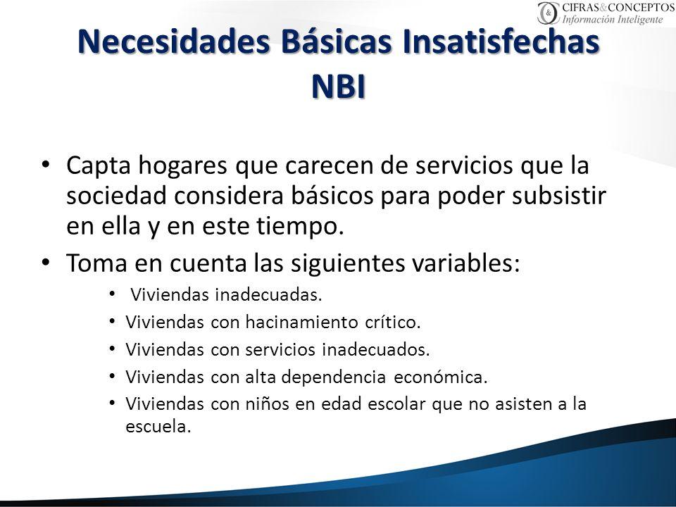 Necesidades Básicas Insatisfechas NBI Capta hogares que carecen de servicios que la sociedad considera básicos para poder subsistir en ella y en este tiempo.