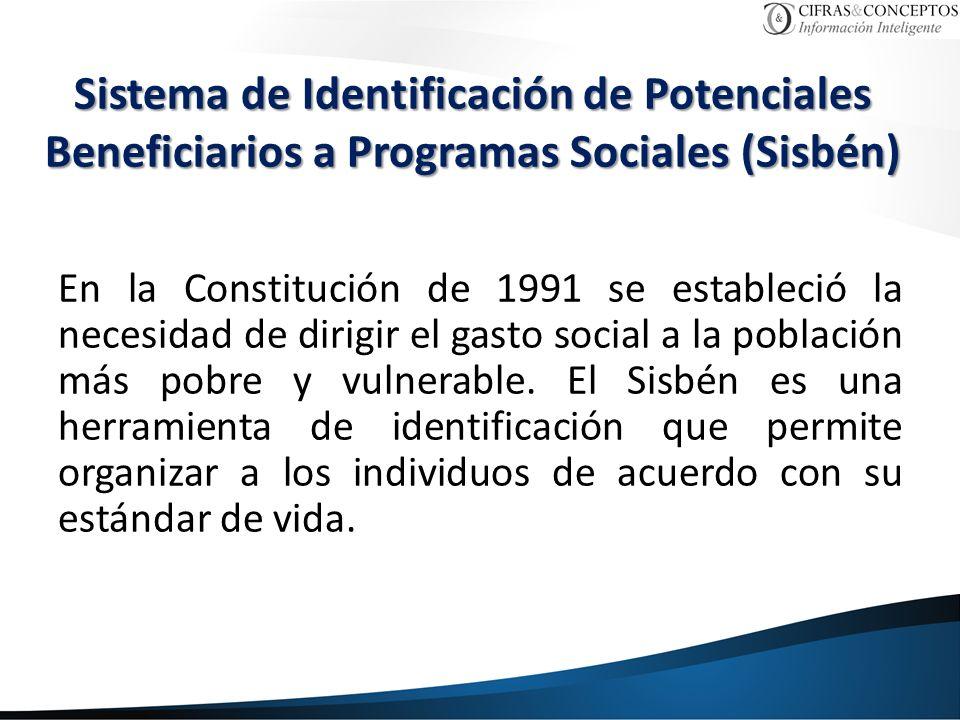 Sistema de Identificación de Potenciales Beneficiarios a Programas Sociales (Sisbén) En la Constitución de 1991 se estableció la necesidad de dirigir el gasto social a la población más pobre y vulnerable.