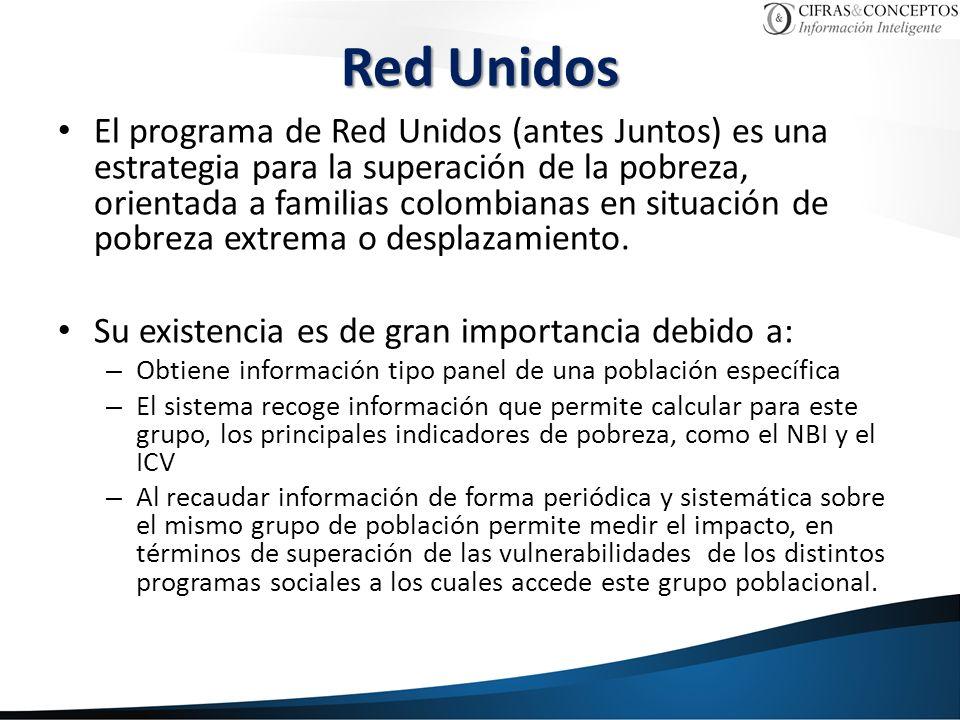 Red Unidos El programa de Red Unidos (antes Juntos) es una estrategia para la superación de la pobreza, orientada a familias colombianas en situación de pobreza extrema o desplazamiento.