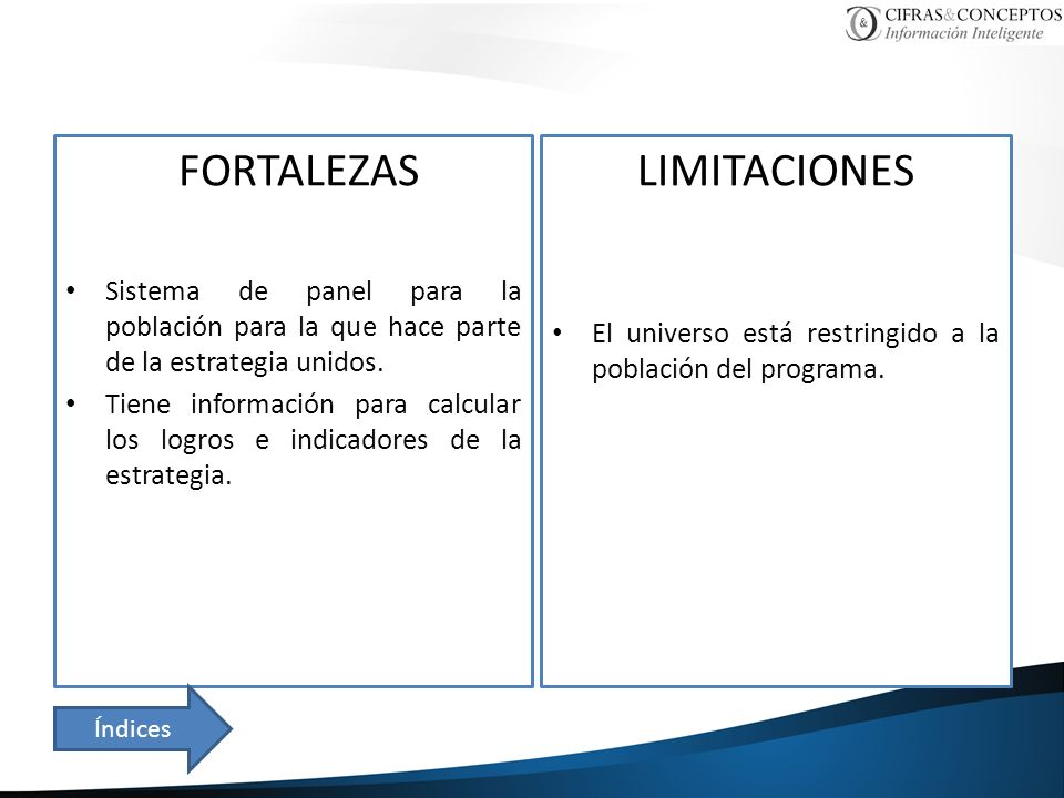 FORTALEZAS Sistema de panel para la población para la que hace parte de la estrategia unidos. Tiene información para calcular los logros e indicadores