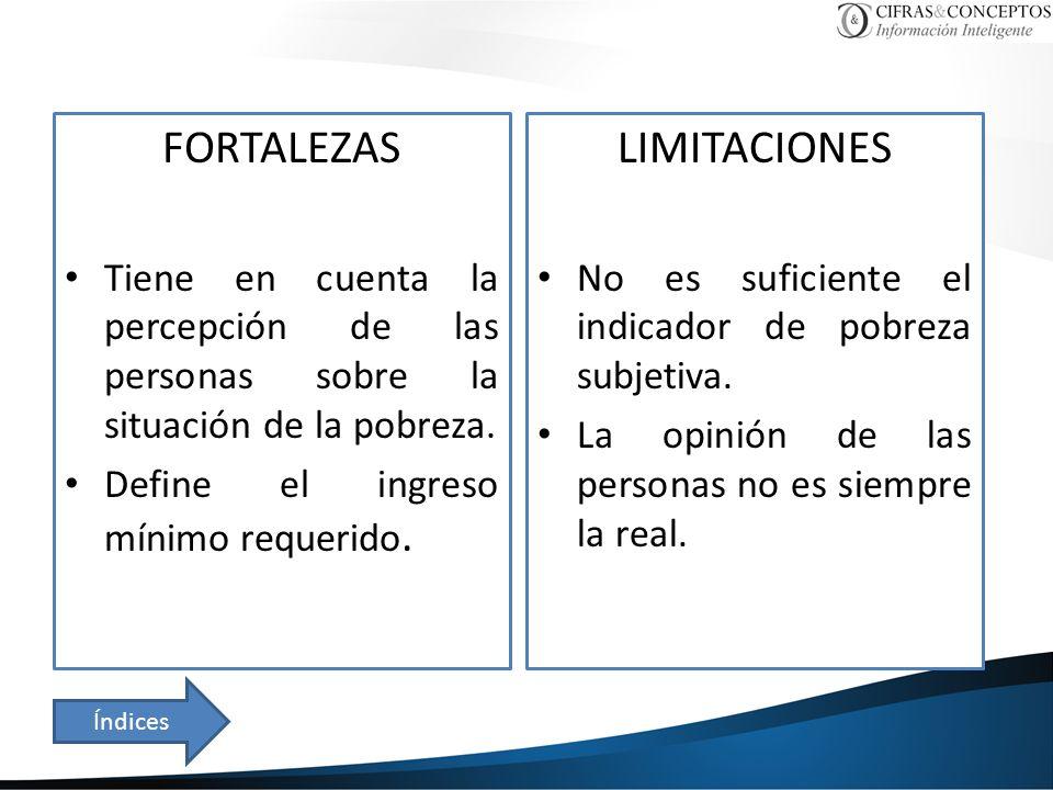 FORTALEZAS Tiene en cuenta la percepción de las personas sobre la situación de la pobreza.