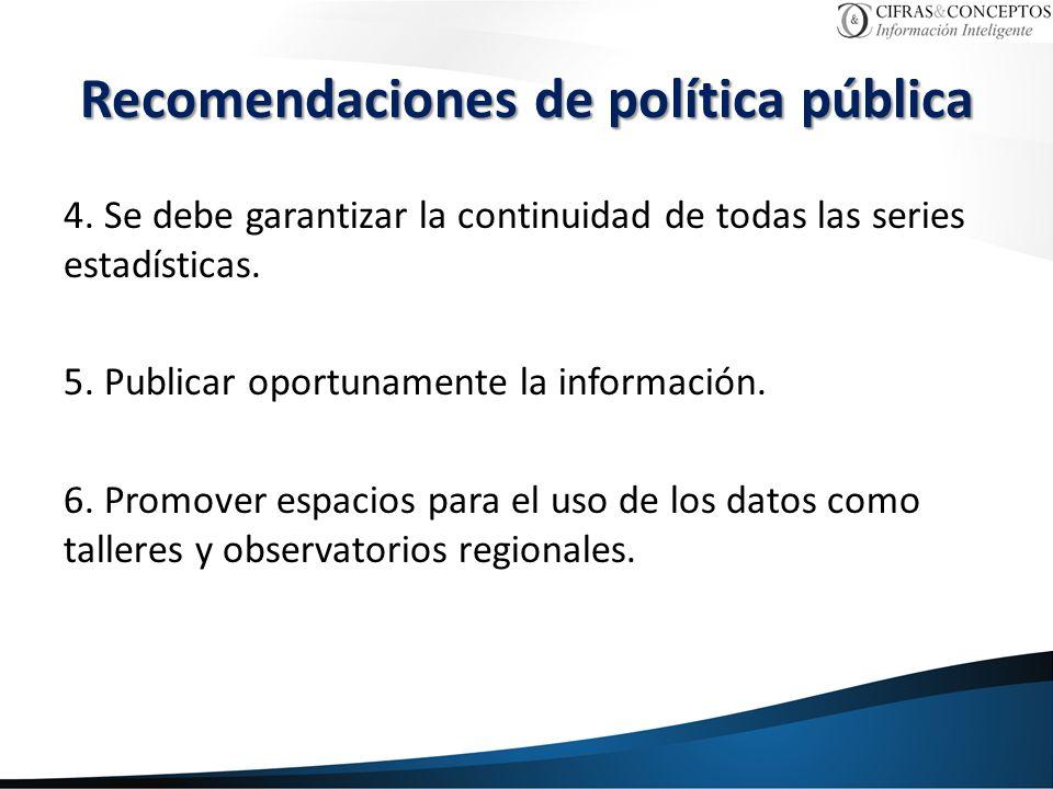 4. Se debe garantizar la continuidad de todas las series estadísticas. 5. Publicar oportunamente la información. 6. Promover espacios para el uso de l