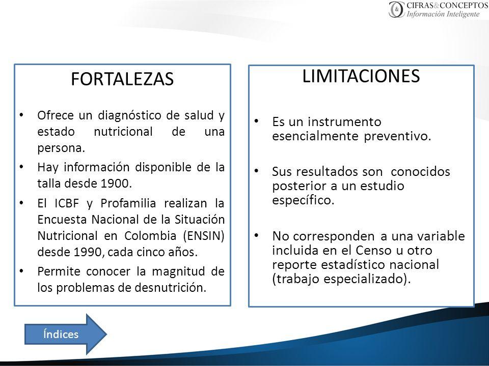 FORTALEZAS Ofrece un diagnóstico de salud y estado nutricional de una persona. Hay información disponible de la talla desde 1900. El ICBF y Profamilia