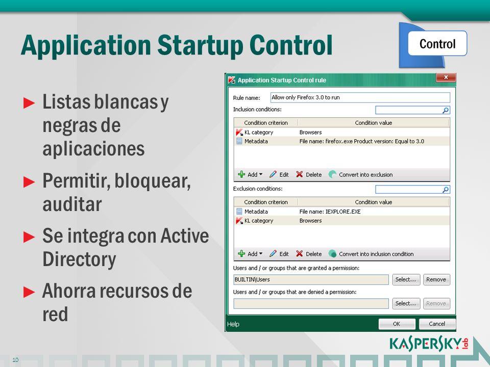 Listas blancas y negras de aplicaciones Permitir, bloquear, auditar Se integra con Active Directory Ahorra recursos de red 10