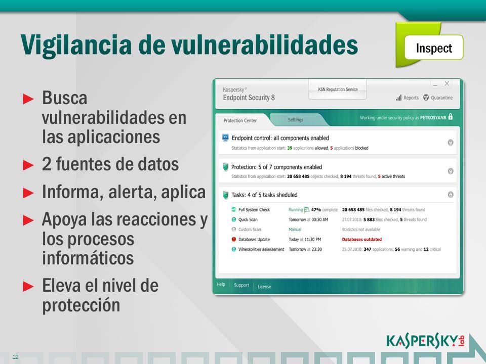 Busca vulnerabilidades en las aplicaciones 2 fuentes de datos Informa, alerta, aplica Apoya las reacciones y los procesos informáticos Eleva el nivel de protección 12