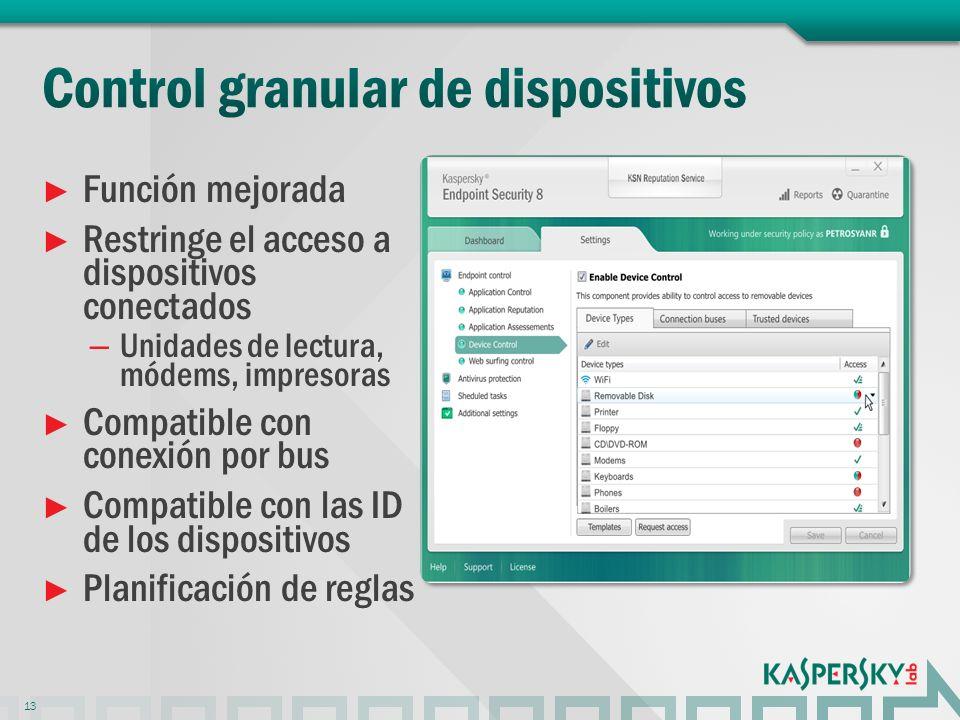 Función mejorada Restringe el acceso a dispositivos conectados – Unidades de lectura, módems, impresoras Compatible con conexión por bus Compatible con las ID de los dispositivos Planificación de reglas 13