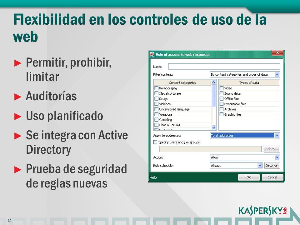 Permitir, prohibir, limitar Auditorías Uso planificado Se integra con Active Directory Prueba de seguridad de reglas nuevas 15