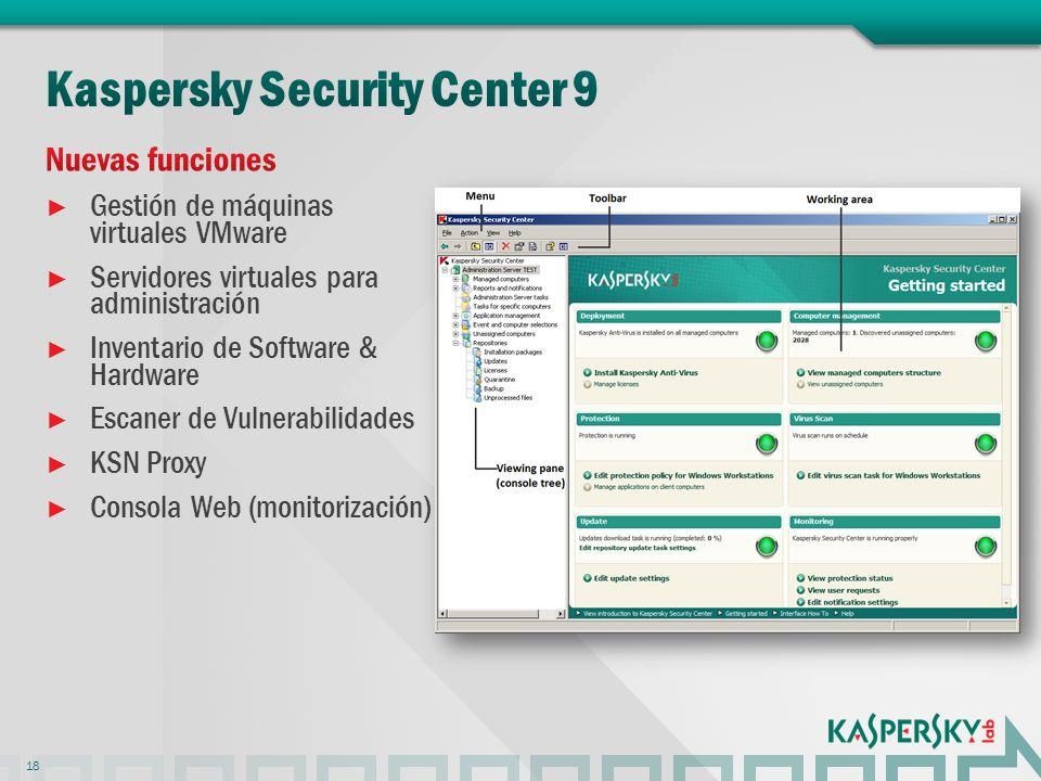 Gestión de máquinas virtuales VMware Servidores virtuales para administración Inventario de Software & Hardware Escaner de Vulnerabilidades KSN Proxy Consola Web (monitorización) 18