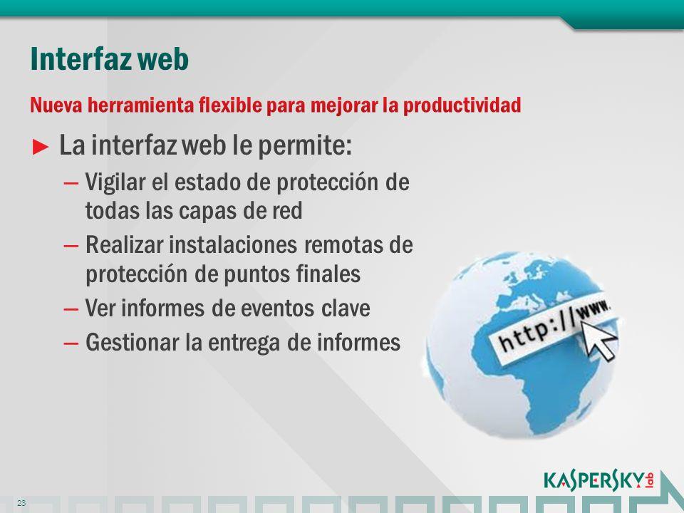 La interfaz web le permite: – Vigilar el estado de protección de todas las capas de red – Realizar instalaciones remotas de protección de puntos finales – Ver informes de eventos clave – Gestionar la entrega de informes 23