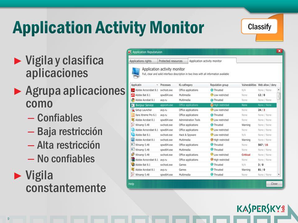 Vigila y clasifica aplicaciones Agrupa aplicaciones como – Confiables – Baja restricción – Alta restricción – No confiables Vigila constantemente 9