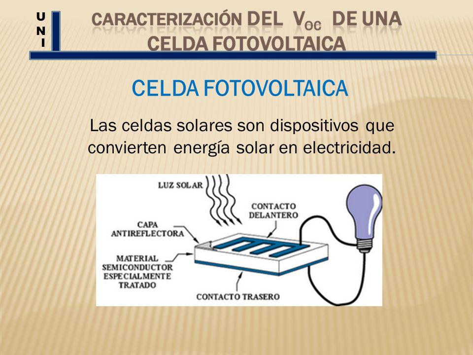 CELDA FOTOVOLTAICA UNUN I Las celdas solares son dispositivos que convierten energía solar en electricidad.