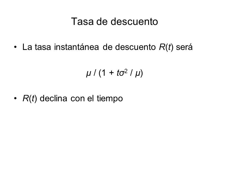 Tasa de descuento La tasa instantánea de descuento R(t) será µ / (1 + tσ 2 / µ) R(t) declina con el tiempo