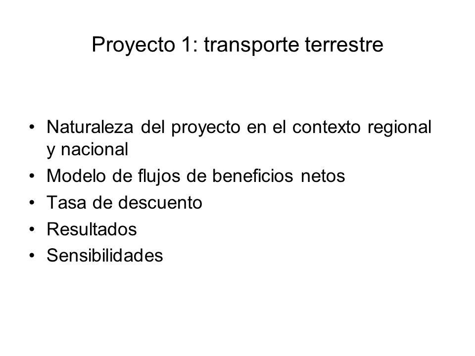 Proyecto 1: transporte terrestre Naturaleza del proyecto en el contexto regional y nacional Modelo de flujos de beneficios netos Tasa de descuento Resultados Sensibilidades