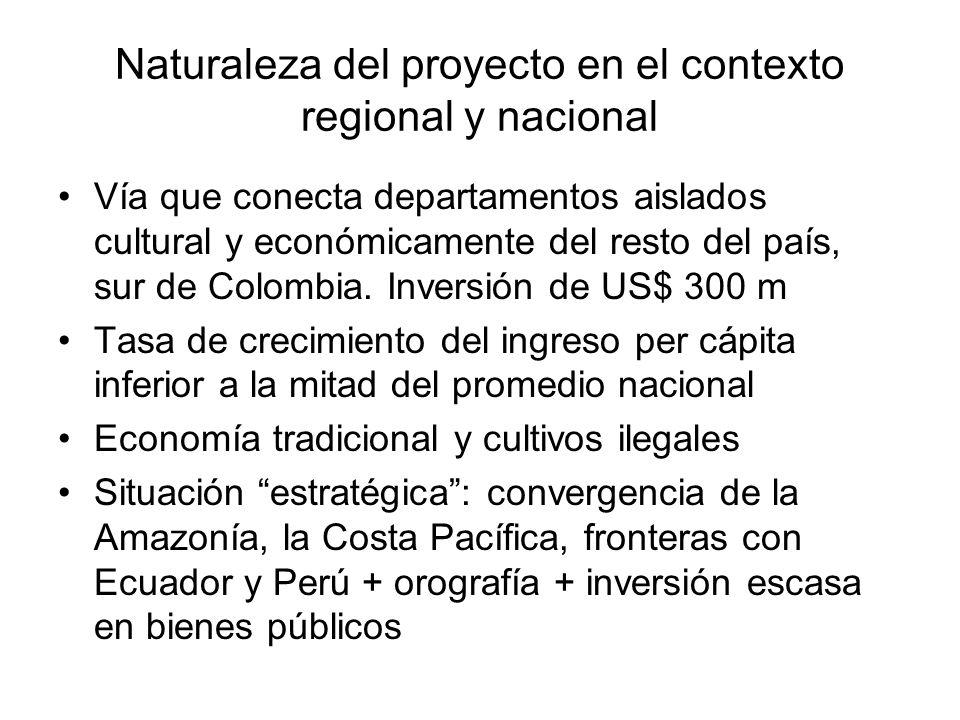 Naturaleza del proyecto en el contexto regional y nacional Vía que conecta departamentos aislados cultural y económicamente del resto del país, sur de Colombia.