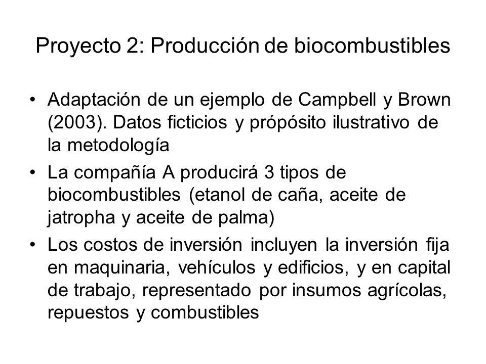 Proyecto 2: Producción de biocombustibles Adaptación de un ejemplo de Campbell y Brown (2003).