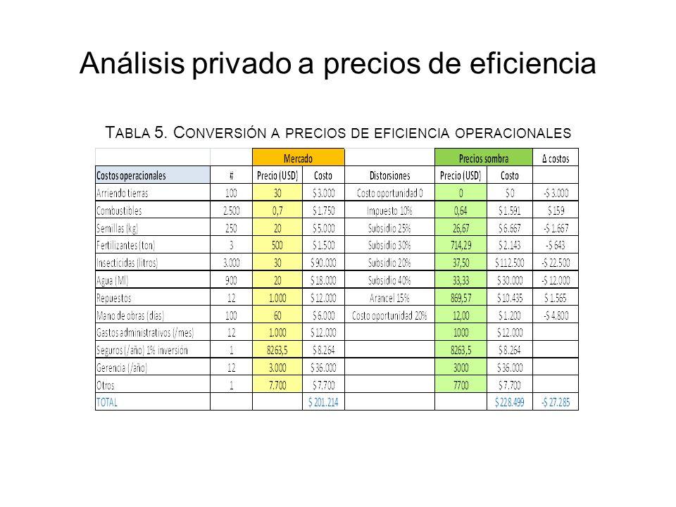 Análisis privado a precios de eficiencia T ABLA 5.