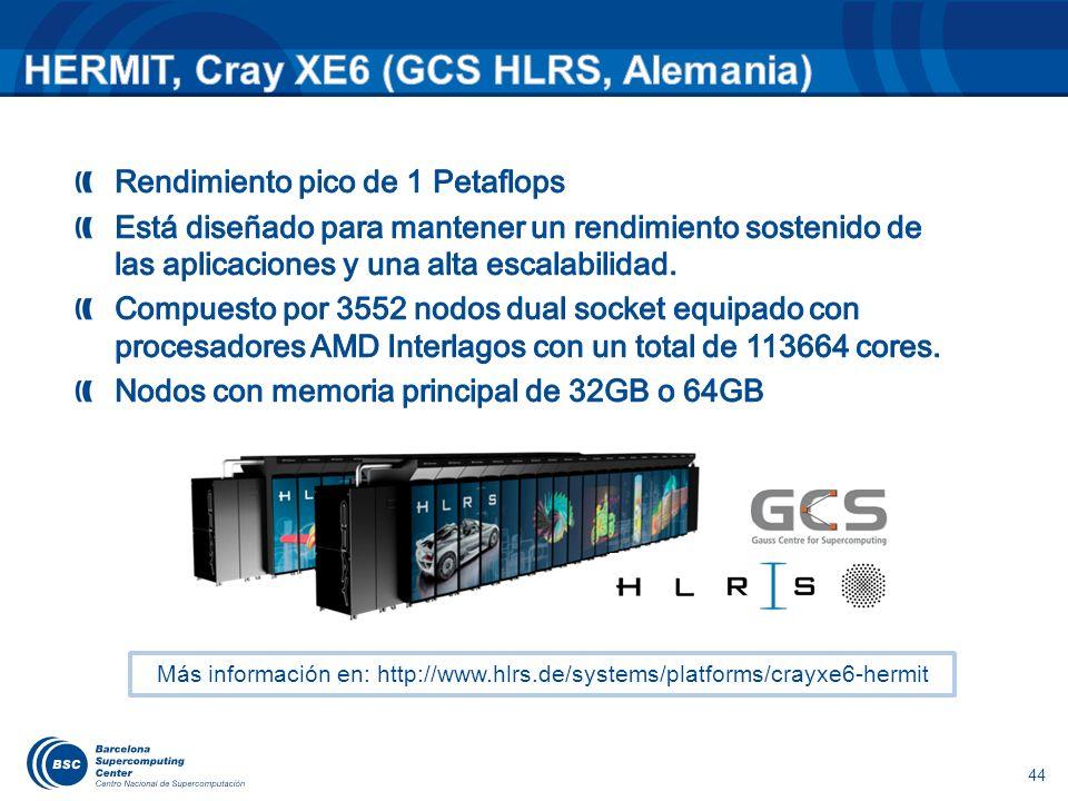 44 Más información en: http://www.hlrs.de/systems/platforms/crayxe6-hermit