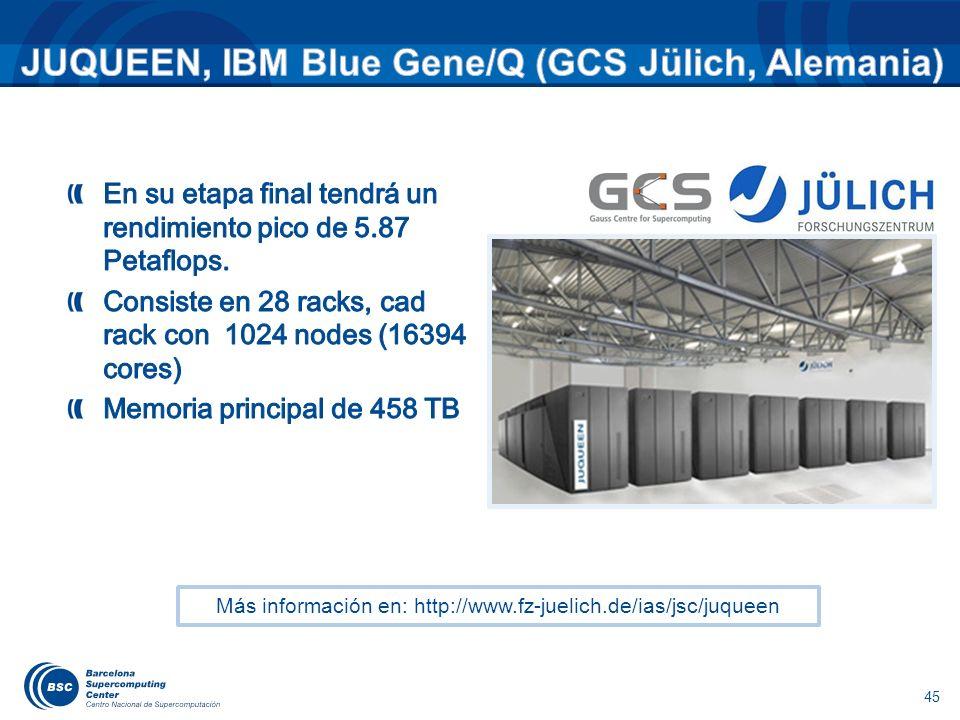 45 Más información en: http://www.fz-juelich.de/ias/jsc/juqueen