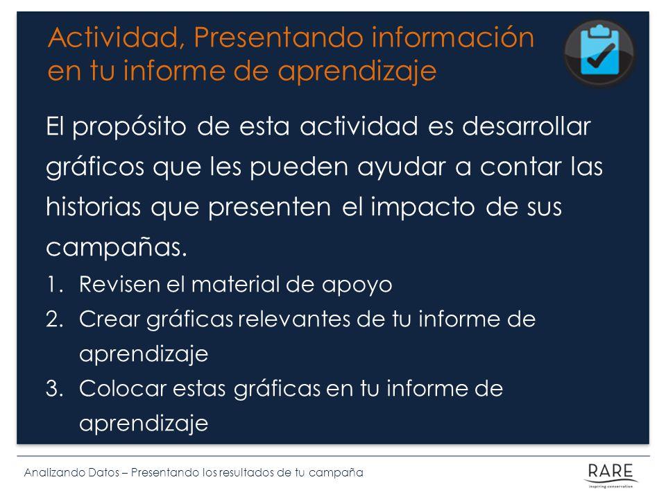 Analizando Datos – Presentando los resultados de tu campaña Actividad, Presentando información en tu informe de aprendizaje El propósito de esta actividad es desarrollar gráficos que les pueden ayudar a contar las historias que presenten el impacto de sus campañas.