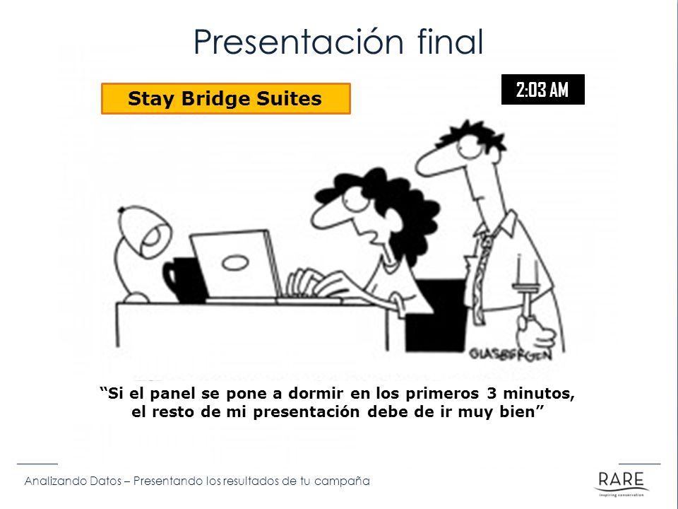 Analizando Datos – Presentando los resultados de tu campaña Si el panel se pone a dormir en los primeros 3 minutos, el resto de mi presentación debe de ir muy bien Stay Bridge Suites 2:03 AM Presentación final