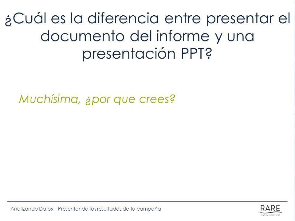Analizando Datos – Presentando los resultados de tu campaña ¿Cuál es la diferencia entre presentar el documento del informe y una presentación PPT? Mu