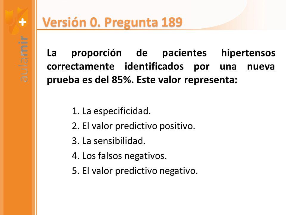 La proporción de pacientes hipertensos correctamente identificados por una nueva prueba es del 85%. Este valor representa: 1. La especificidad. 2. El