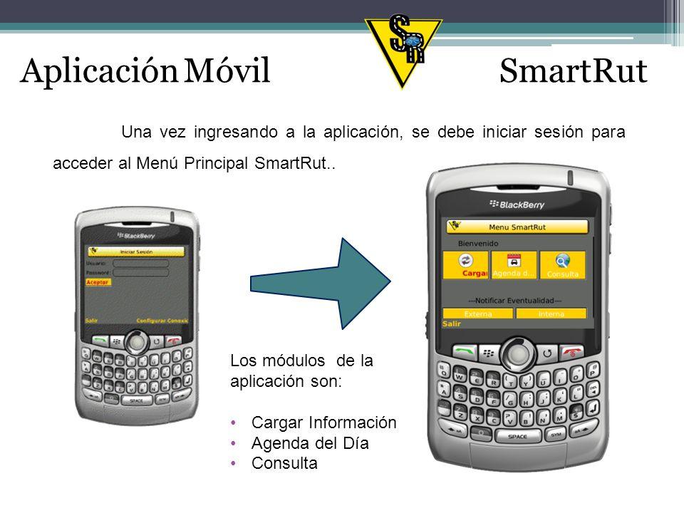 Aplicación MóvilSmartRut Una vez ingresando a la aplicación, se debe iniciar sesión para acceder al Menú Principal SmartRut..