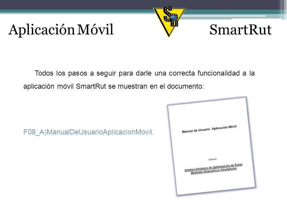Todos los pasos a seguir para darle una correcta funcionalidad a la aplicación móvil SmartRut se muestran en el documento: Aplicación MóvilSmartRut F08_A)ManualDeUsuarioAplicacionMovil.