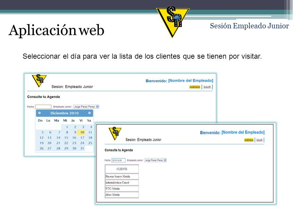 Aplicación web Seleccionar el día para ver la lista de los clientes que se tienen por visitar.