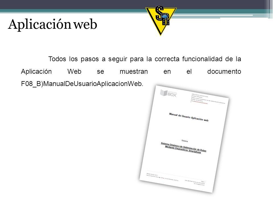 Aplicación web Todos los pasos a seguir para la correcta funcionalidad de la Aplicación Web se muestran en el documento F08_B)ManualDeUsuarioAplicacionWeb.