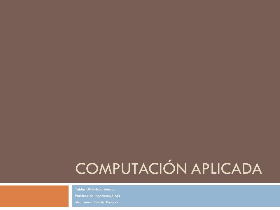 COMPUTACIÓN APLICADA Tablas Dinámicas, Macros Facultad de Ingeniería, UAQ Ma. Teresa García Ramírez