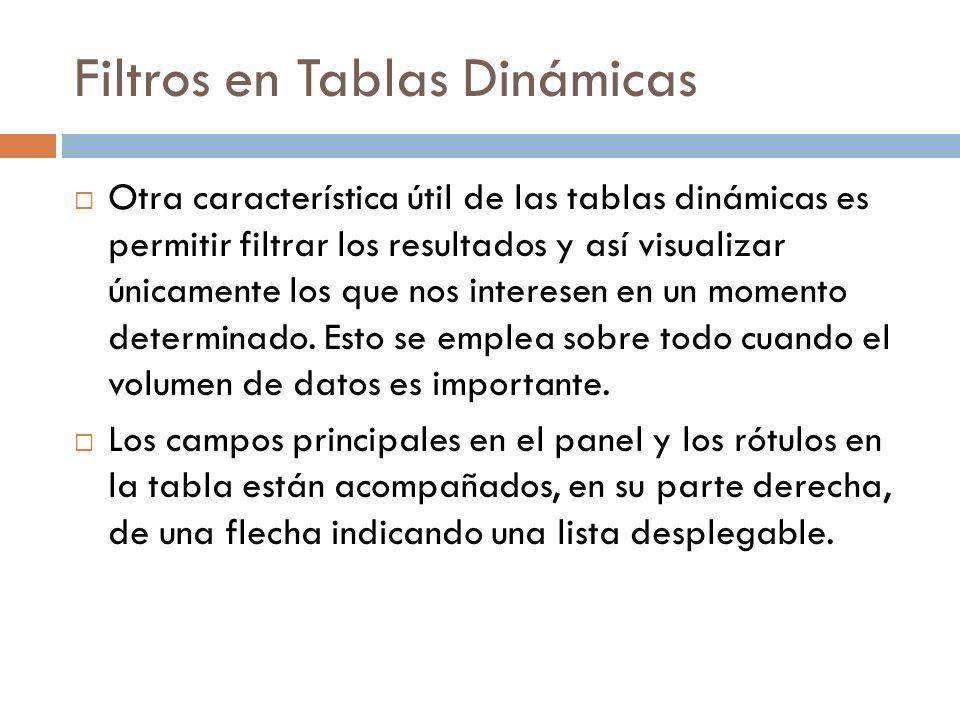 Filtros en Tablas Dinámicas Otra característica útil de las tablas dinámicas es permitir filtrar los resultados y así visualizar únicamente los que nos interesen en un momento determinado.