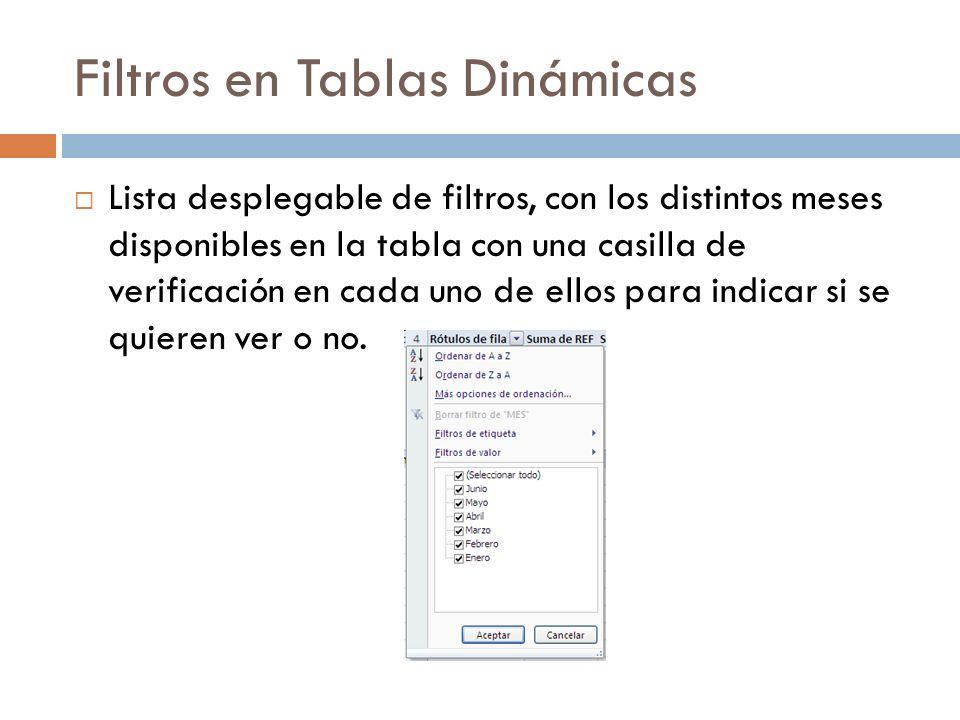 Filtros en Tablas Dinámicas Lista desplegable de filtros, con los distintos meses disponibles en la tabla con una casilla de verificación en cada uno de ellos para indicar si se quieren ver o no.