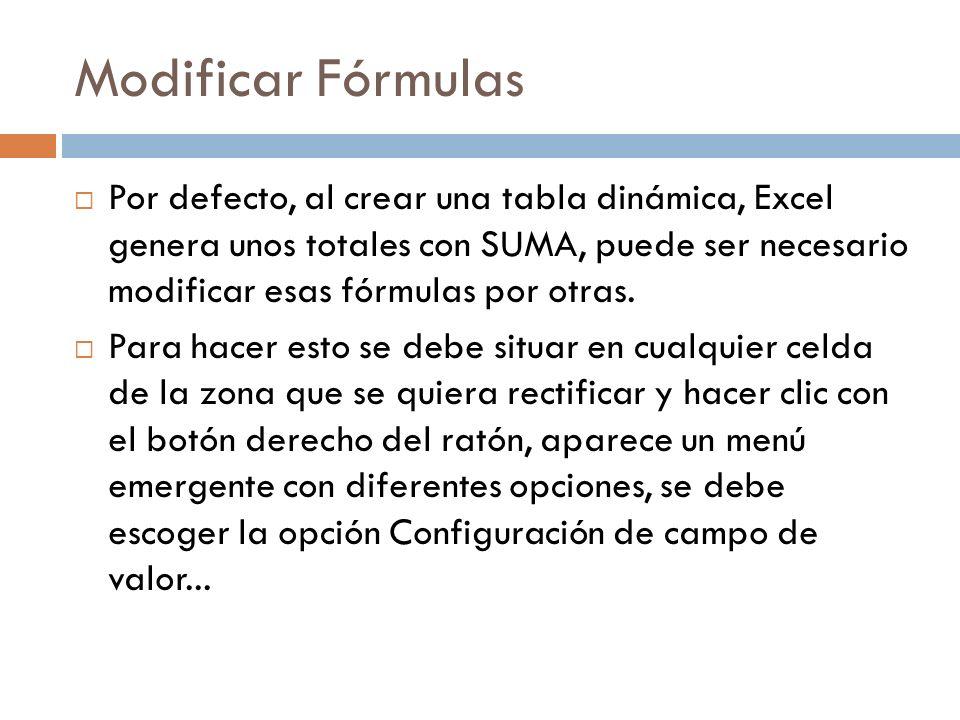 Modificar Fórmulas Por defecto, al crear una tabla dinámica, Excel genera unos totales con SUMA, puede ser necesario modificar esas fórmulas por otras.