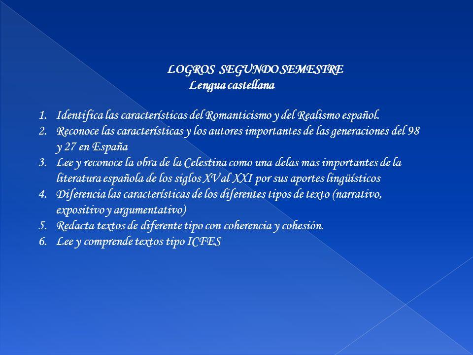 LOGROS SEGUNDO SEMESTRE Lengua castellana 1.Identifica las características del Romanticismo y del Realismo español. 2.Reconoce las características y l