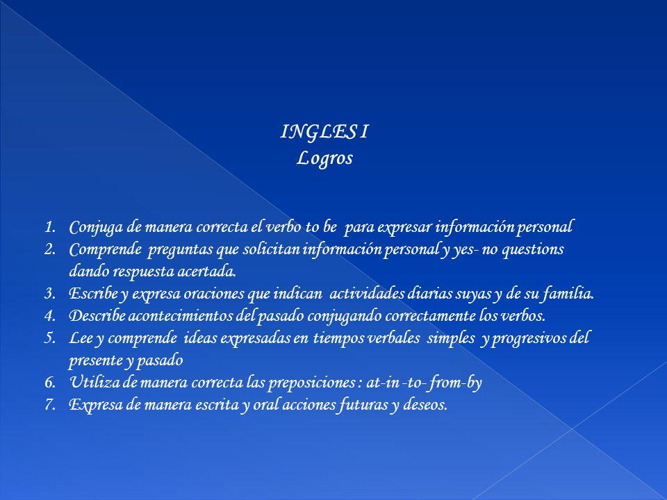 INGLES I Logros 1.Conjuga de manera correcta el verbo to be para expresar información personal 2.Comprende preguntas que solicitan información persona