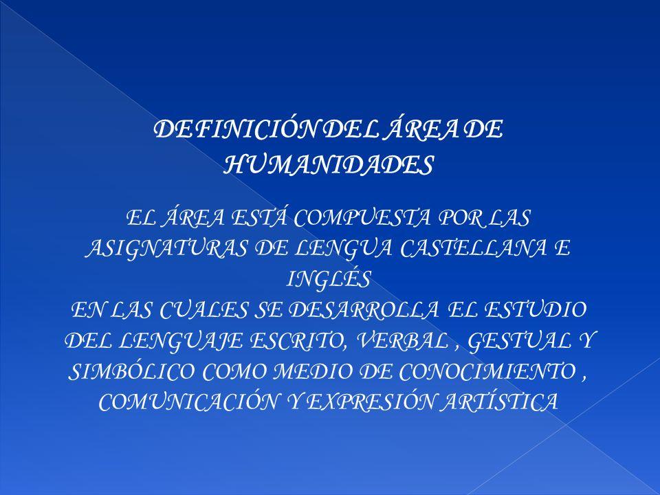 DEFINICIÓN DEL ÁREA DE HUMANIDADES EL ÁREA ESTÁ COMPUESTA POR LAS ASIGNATURAS DE LENGUA CASTELLANA E INGLÉS EN LAS CUALES SE DESARROLLA EL ESTUDIO DEL